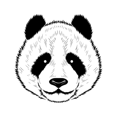 A vector image of a panda. Black image on white background.