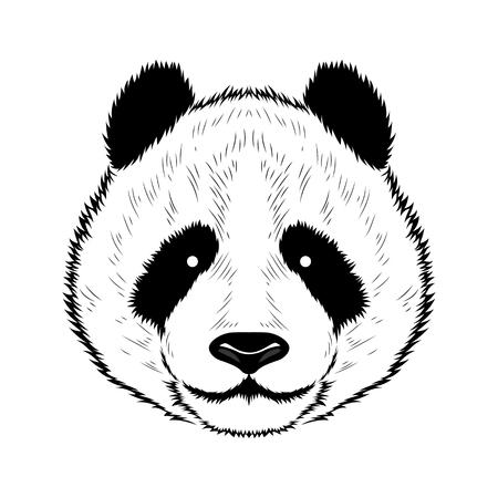 Una imagen vectorial de un panda. Imagen negra sobre fondo blanco.