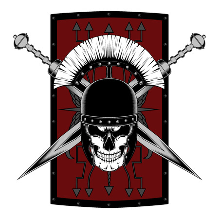 Vector image of a legionnaire skull in a helmet with swords and a shield. Image on white background. Illustration