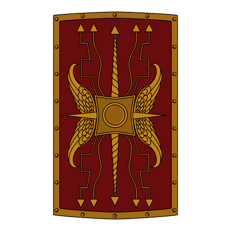 Vector image of a shield of a roman legionary. Image on white background. Illustration