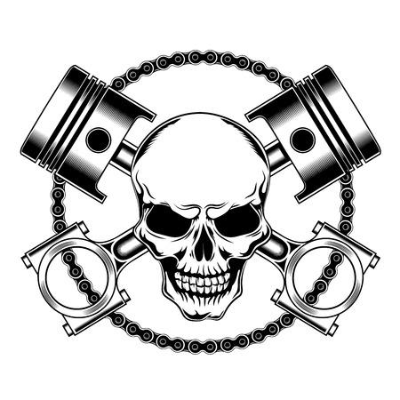Cráneo con pistones y cadena. Ilustración de vector
