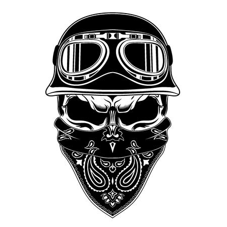 Skull in a motorcycle helmet.