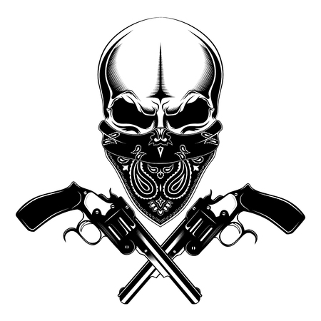 Skull with pistols