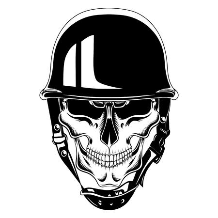 Vector black and white image skull in helmet