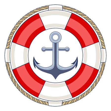 Life ring with an anchor. Ilustração Vetorial