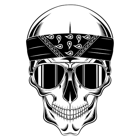 Vector image skull in bandana and glasses