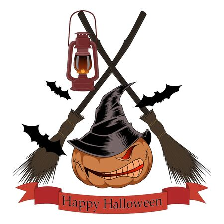 Pumpkin in a hat with brooms and bats.