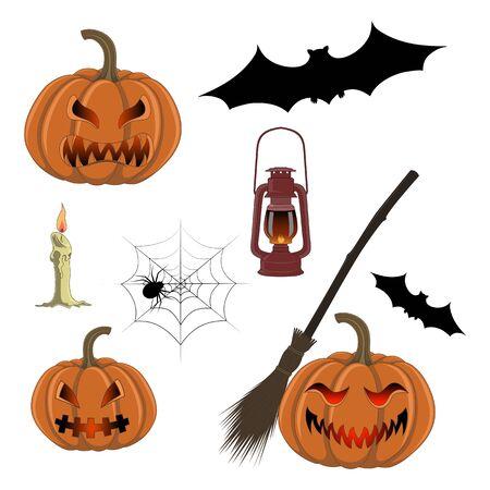 Set of vector images of pumpkins, lanterns, bats.  イラスト・ベクター素材