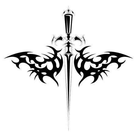 Vector image of a dagger with a pattern.