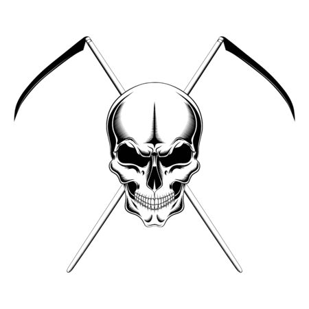 Vector image of a skull with scythes.