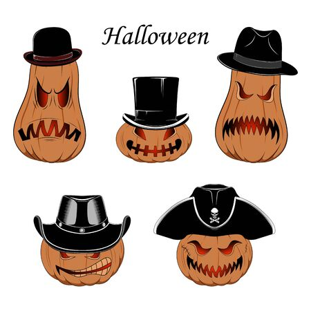 Set of vector images of pumpkins in hats on a white background.