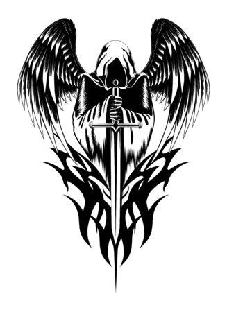 Vector image of an angel with a sword.
