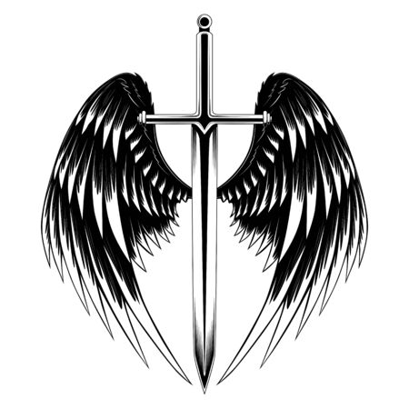 Black and white vector image sword with wings. Çizim