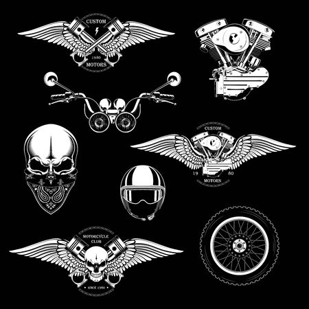 Set of monochrome motorcycle emblems with the image of a skull, wings, engine, pistons, motorcycle steering wheel, wheels.