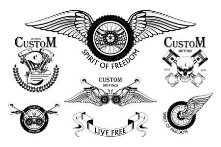 Set of moto emblems. Vector images of a motorcycle wheel, motorcycle steering wheel, pistons, moto engine.