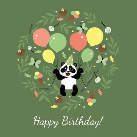 Cute panda is flying in balloons. Children's illustration is decorated with plant elements and sweets. Ilustracja