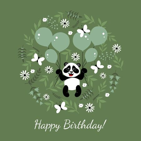 Little, funny, cute panda flies in balloons. Children's illustration decorated with plant elements.