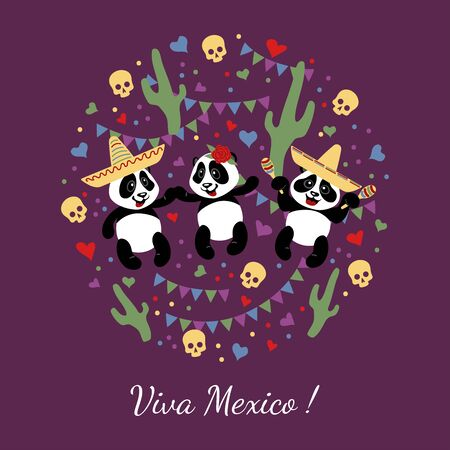 Little funny pandas dance in Mexican hats. Children's illustration decorated with confit, garlands, skulls, cacti. Illustration