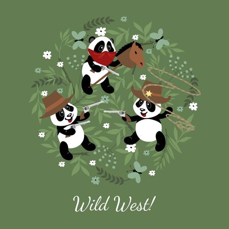 Little funny pandas play cowboys. Illustration for children decorated with zealous elements.