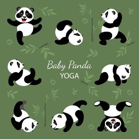 Little funny pandas do yoga. Illustration for children.