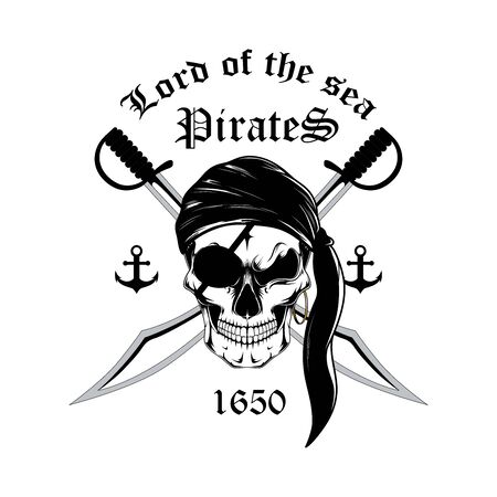 Black and white emblem of a pirate skull with swords. Vector image on a white background.
