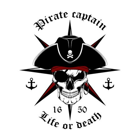 Black and white image skull of a pirate captain with a rose of winds. Vector image on a white background.