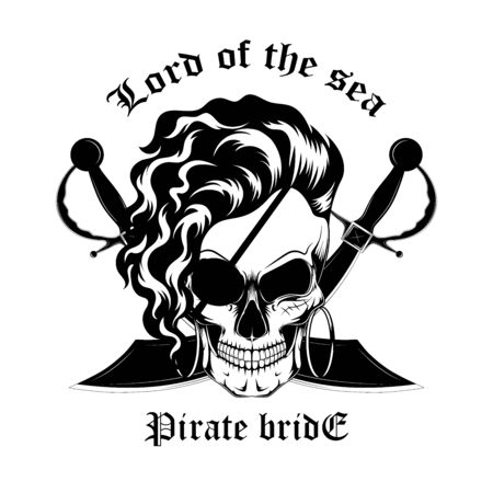 Black and white vector image of a skull of a pirate woman. The bride of the front door.