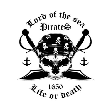 Monochrome image of a pirate skull with swords. Emblem on a white background.