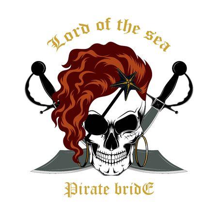 Skull of a pirate bride with swords. Vector image on a dark background. Ilustração