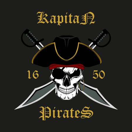 Skull of a pirate captain with swords. Vector image on a dark background. Illustration