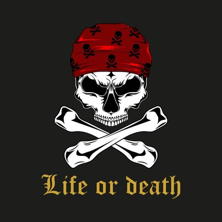 Vector image of a pirate skull with bones. Imagens - 147149360
