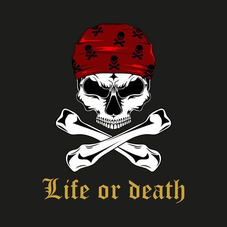 Vector image of a pirate skull with bones. Ilustração