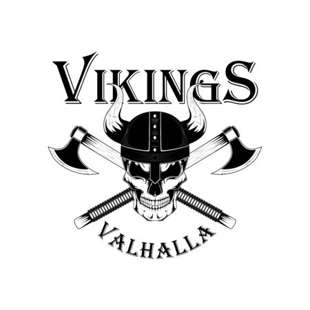 Monochrome vector image of a viking skull in a helmet with axes. Vector image on a white background. Ilustração