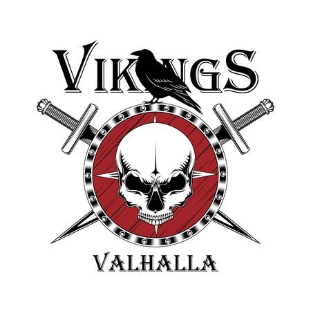 Vector image of a shield with a skull and swords. Raven is sitting on a shield. image on a white background. Vecteurs