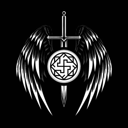 Vector image of a sword with wings. Image with a symbol of the Valkyrie. Black and white image on a black background. Vettoriali