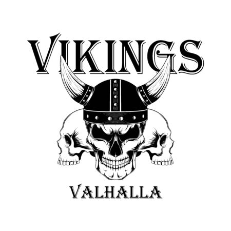 Vector monochrome image of a viking skull in a helmet. Image on a white background. Imagens - 147149377