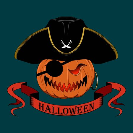 Pumpkin Captain Pirates. Illustration for Halloween.