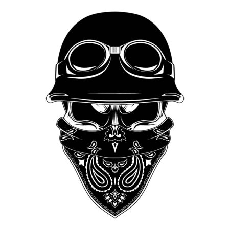 Vector image of a skull in a motorcycle helmet with a bandana on the face. Black and white image on a white background. Vektorgrafik