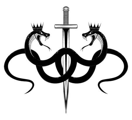 Vector image of a serpent in a crown with a sword. Black and white image on a white background.