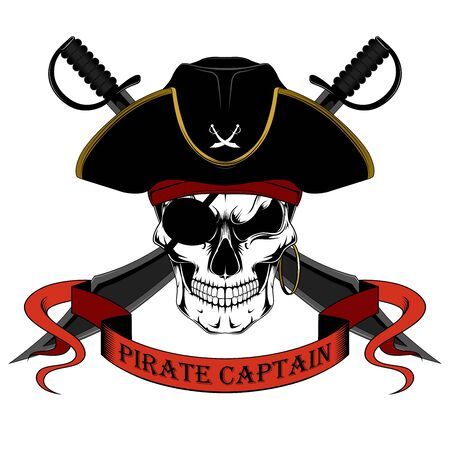 Skull of a pirate captain in a hat with swords. Color vector image on a white background. Vector Illustration