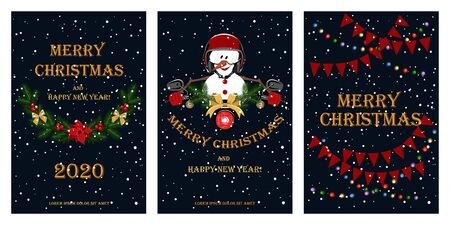 Set of greeting cards for christmas and new year. Design elements for cards, flyers, banners. Ilustracja