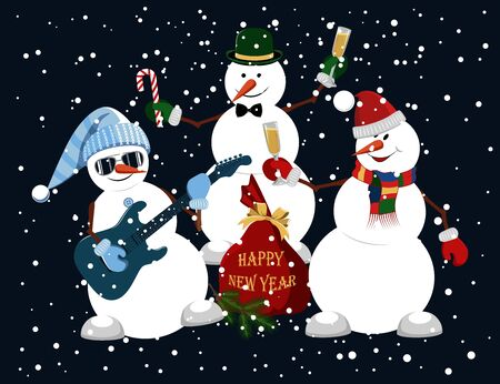 Vector image of funny snowmen. A snowman plays the guitar, a snowman with a glass of champagne, a snowman with a candy. Happy New Year.