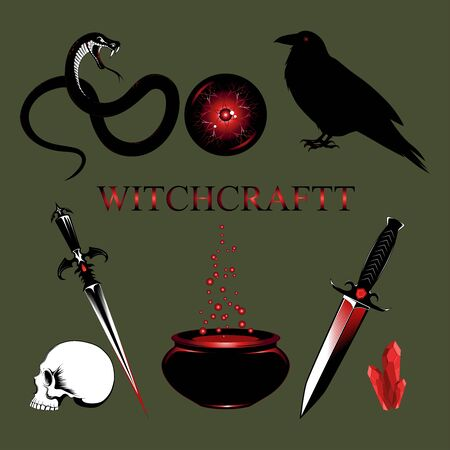 Set of vector images: snake, daggers, skull, magic ball, crystals, bowl with potion.