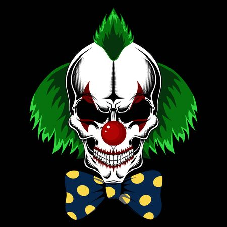 Clown skull with green hair and bow. Vector image on black background.