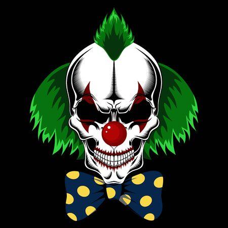 Crâne de clown aux cheveux verts et à l'arc. Image vectorielle sur fond noir.