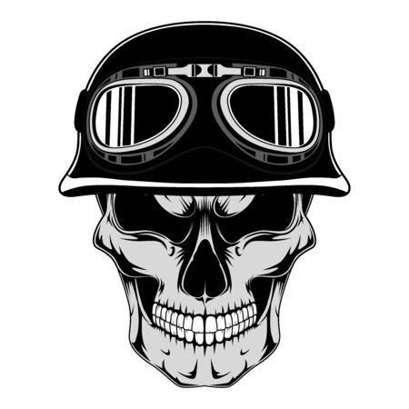 Skull in an old motorcycle helmet. Vector image on white background.