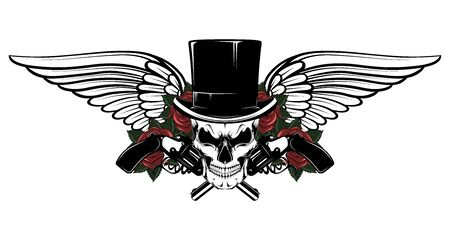 Skull in a hat cylinder with revolvers, roses, wings.