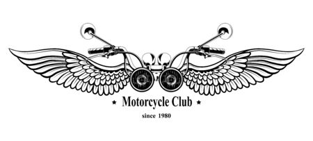 Rudder motorcycle with wings. Vector image on white background.