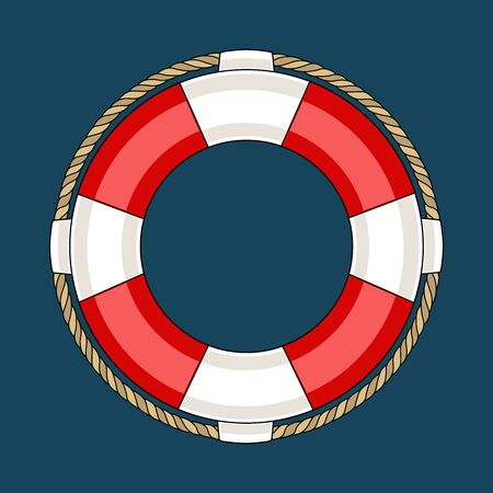 Vector image of a lifebuoy on a blue background. 向量圖像