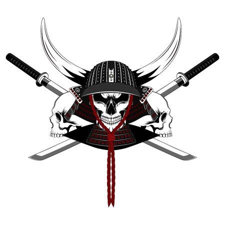 Vector image of a samurai skull with swords and skulls. Image on white background. Ilustração